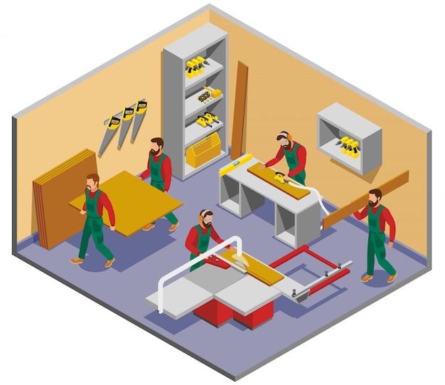Composición isométrica de fabricantes de muebles