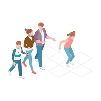 Composición isométrica con familia caminando y niña jugando a la rayuela.