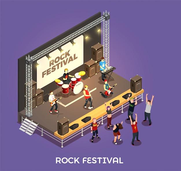 Composición isométrica del festival de rock