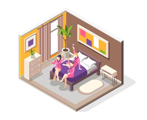 Composición isométrica de la fiesta de pijamas con vista del interior del dormitorio con amigas divirtiéndose en la ilustración de la cama