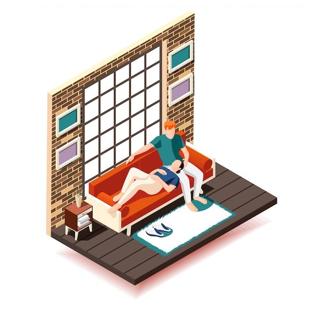 Composición isométrica de fin de semana de descanso en el hogar esposa y esposo en el sofá durante el ocio cerca de la ventana