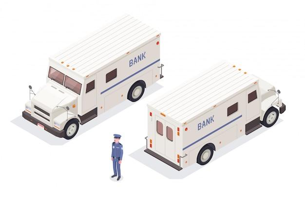 Composición isométrica financiera bancaria con imágenes aisladas de furgonetas bancarias de efectivo en tránsito