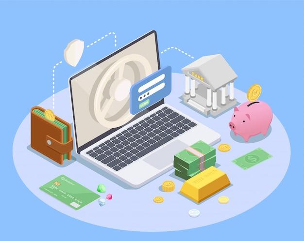 Composición isométrica financiera bancaria con imágenes de los iconos de la computadora portátil de la cartera del banco y la ilustración del vector de dinero