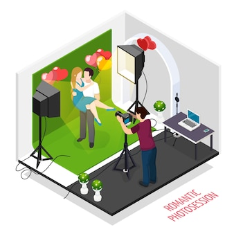 Composición isométrica de fotografía de pareja de citas con compromiso romántico plantea sesiones de fotos profesionales en ilustración de estudio