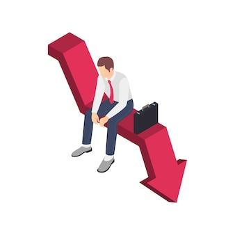 Composición isométrica de frustración de depresión de agotamiento profesional con carácter de trabajador de negocios sentado en la flecha hacia abajo
