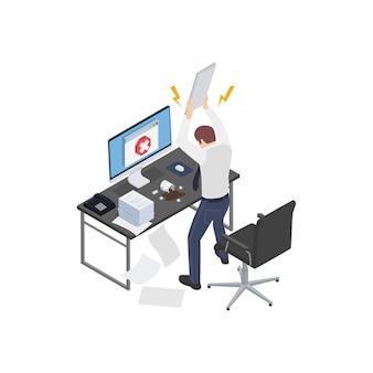 Composición isométrica de frustración de depresión de agotamiento profesional con computadora aplastante de oficinista