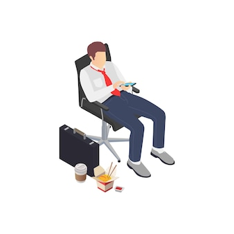 Composición isométrica de frustración de depresión de agotamiento profesional con trabajador de negocios mirando teléfono inteligente con comida chatarra