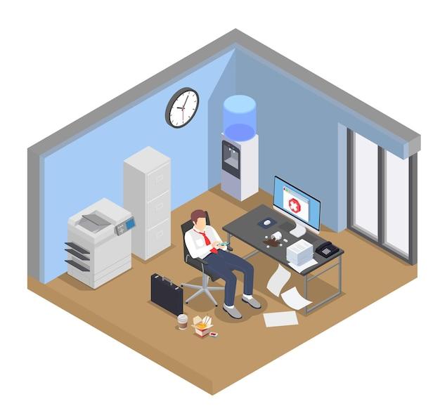 Composición isométrica de frustración de depresión de agotamiento profesional con vista del interior de la sala de oficina y carácter de trabajador distraído
