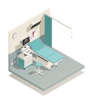 Composición isométrica del gabinete de ginecología