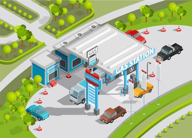 Composición isométrica de gasolinera