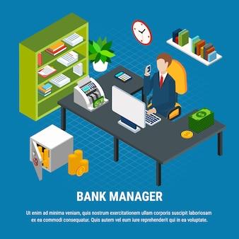 Composición isométrica del gerente de banca