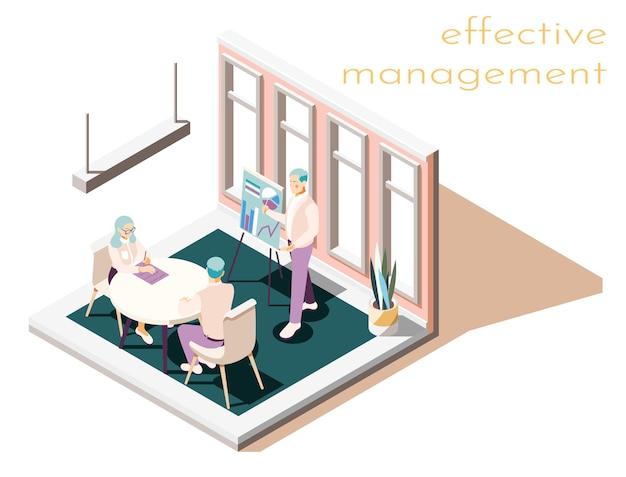 Composición isométrica de gestión eficaz.