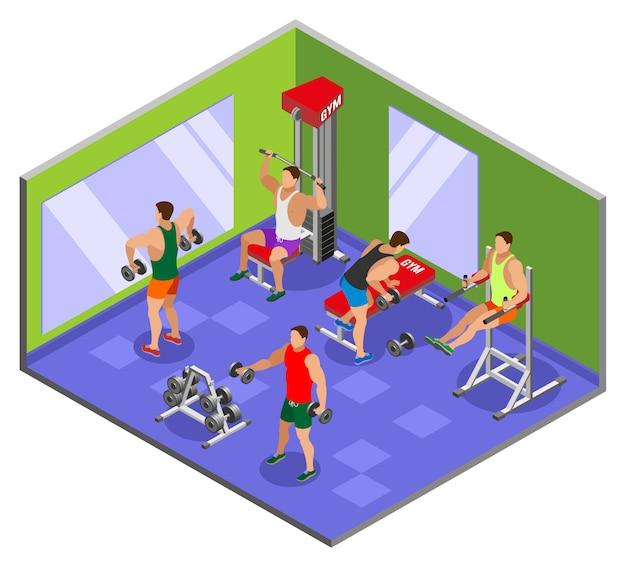 Composición isométrica del gimnasio de culturismo