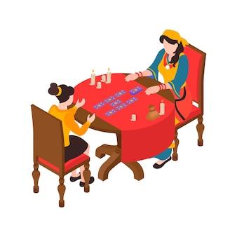 Composición isométrica con gitana adivinando por cartas del tarot 3d