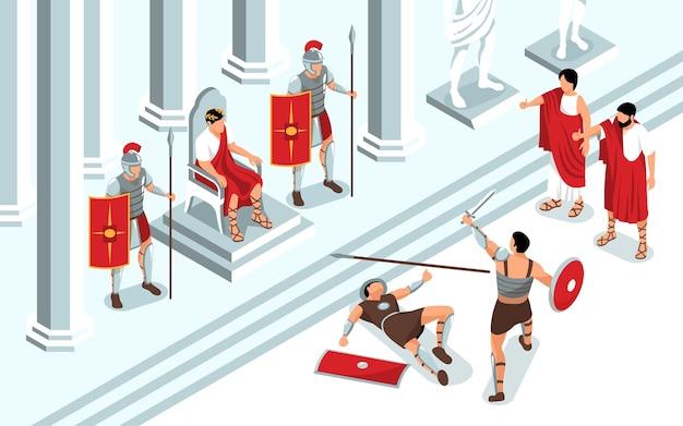 Composición isométrica de gladiadores de la antigua roma con vista de la sala del trono y el monarca viendo la ilustración de la lucha de la batalla del duelo
