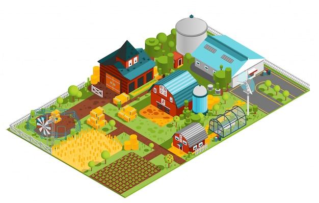 Composición isométrica de una granja rural
