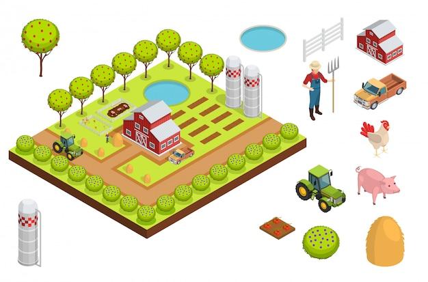 Composición isométrica de la granja