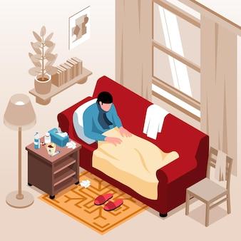 Composición isométrica de gripe fría con paisaje de casa y persona enferma acostada en el sofá con medicamentos médicos