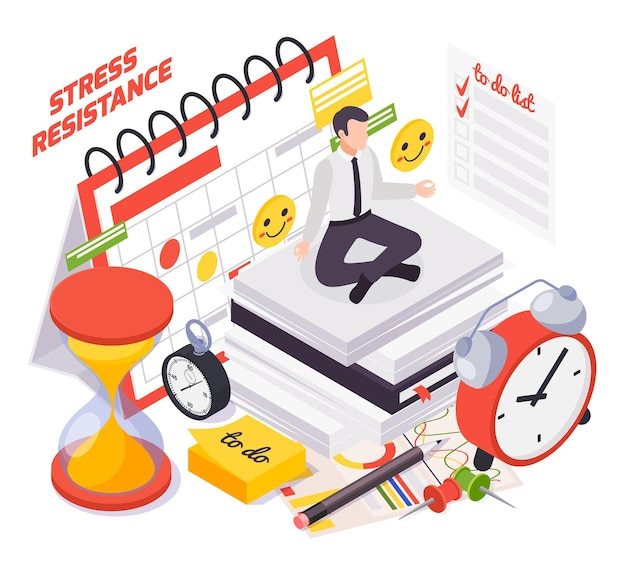 Composición isométrica de habilidades blandas con trabajo bajo presión, capacidad de gestión del tiempo, símbolos de resistencia al estrés