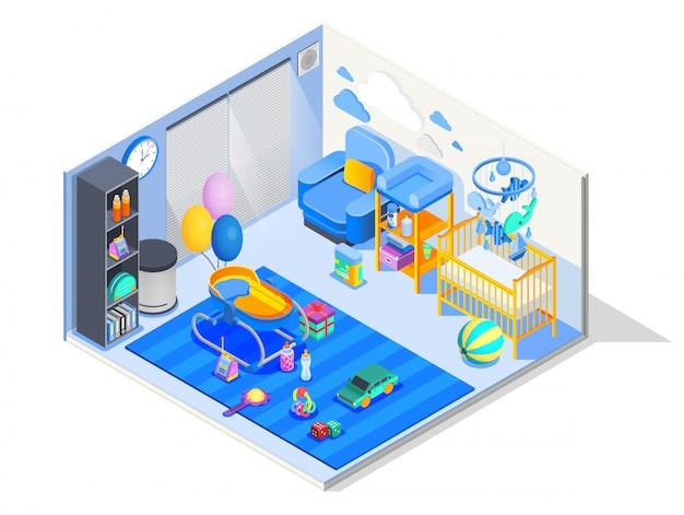 Composición isométrica de la habitación del bebé