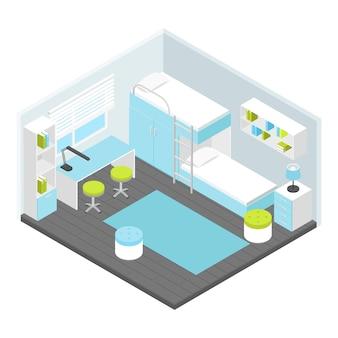 Composición isométrica de habitaciones infantiles