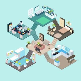 Composición isométrica de habitaciones