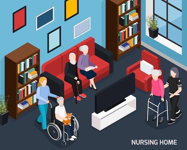 Composición isométrica del hogar de ancianos
