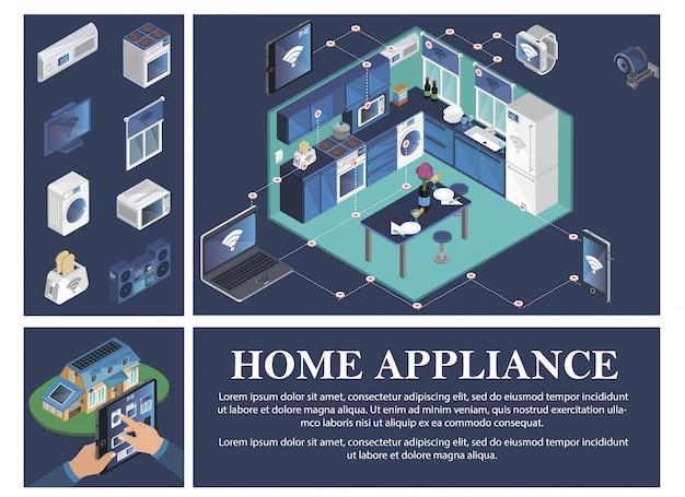 Composición isométrica del hogar inteligente con aire acondicionado estufa tv persiana lavadora tostadora microondas centro de música control remoto de electrodomésticos desde dispositivos