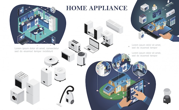 Composición isométrica para el hogar inteligente con control remoto de electrodomésticos desde dispositivos digitales modernos