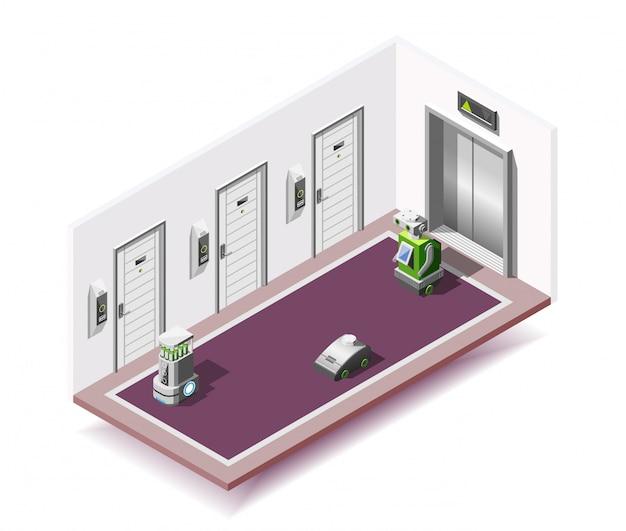 Composición isométrica de hoteles robotizados