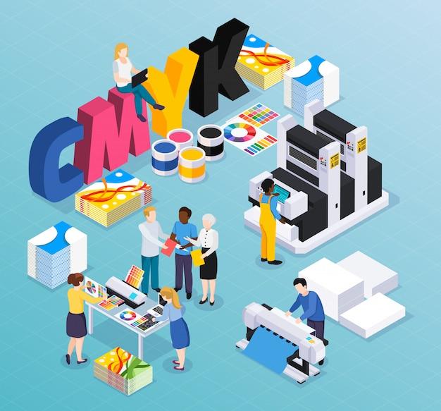 Composición isométrica de la imprenta de la agencia de publicidad con clientes, diseñadores, trabajadores que producen anuncios de prensa coloridos, material, ilustración