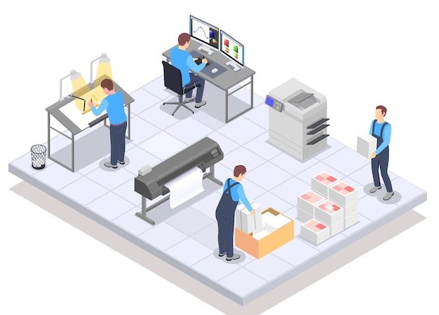 Composición isométrica de la imprenta con personajes humanos de trabajadores en computadoras que dibujan caballetes, papel e impresoras, ilustración