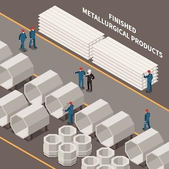 Composición isométrica de la industria del metal con trabajadores y productos metalúrgicos ilustración vectorial 3d