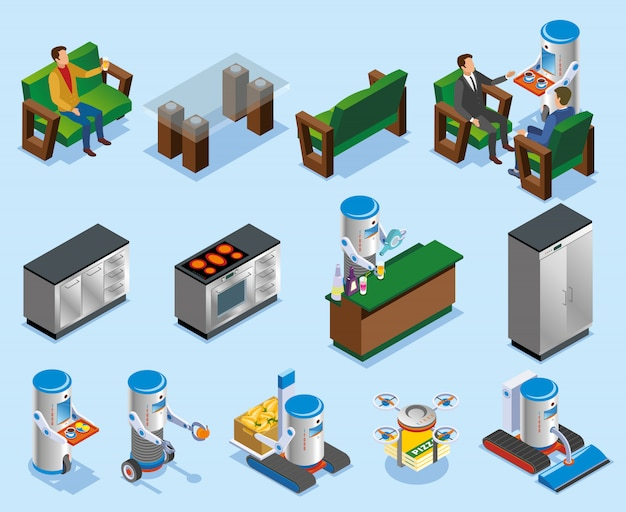 Composición isométrica de la industria de restaurantes robóticos