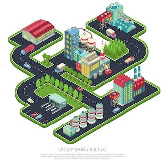 Composición isométrica de infraestructura de fábrica