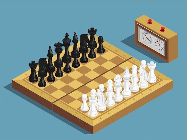Composición isométrica inicial del ajedrez
