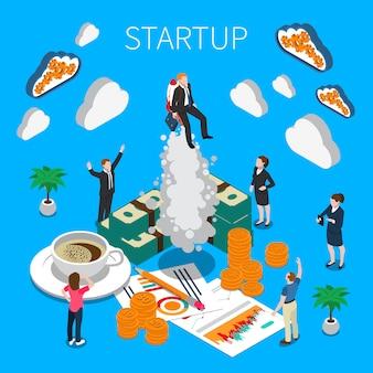 Composición isométrica de inicio de negocios