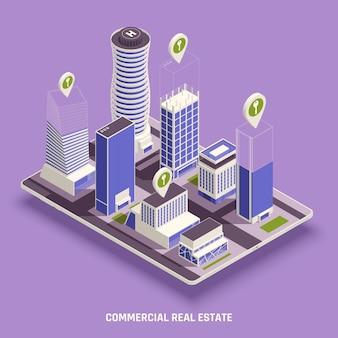 Composición isométrica inmobiliaria comercial.