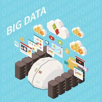 Composición isométrica de inteligencia artificial con vista de los racks del servidor del cerebro del tanque de datos y pictogramas de computación en la nube