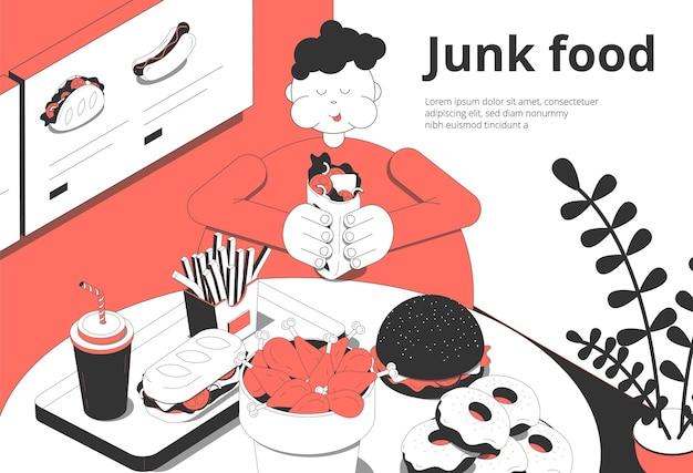 Composición isométrica interior del bar cafetería de comida rápida con un cliente con sobrepeso que come comida chatarra, hamburguesas, donas, postre