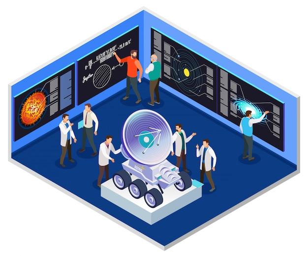 Composición isométrica interior del centro de investigación de astrofísica con científicos que se preparan para la ilustración de misión espacial de radiotelescopio móvil