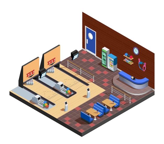 Composición isométrica interior del club de bolos con zona de juegos café y estante de administrador