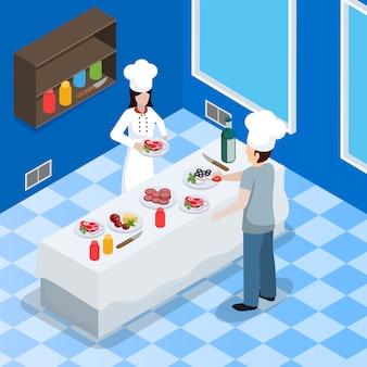 Composición isométrica interior de cocina comercial