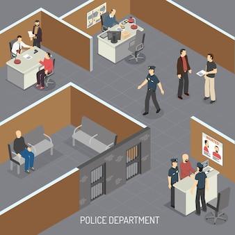 Composición isométrica interior del departamento de policía con sospechoso de delito en detención provisional previa al juicio y oficina de detectives