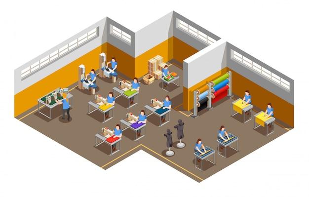 Composición isométrica interior de fábrica de ropa