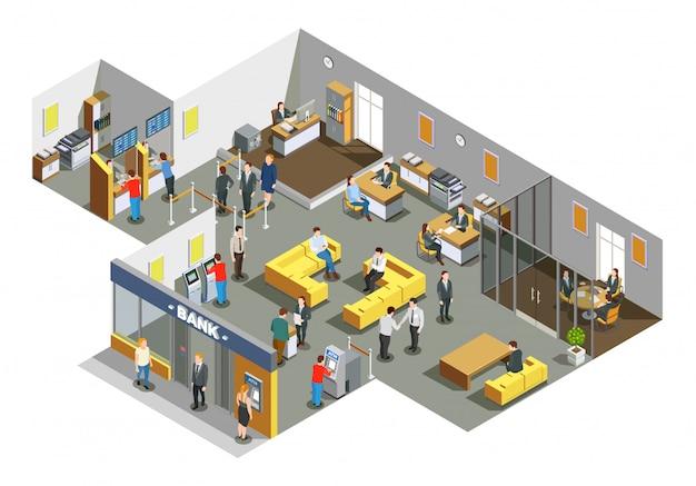 Composición isométrica interior de la oficina del banco
