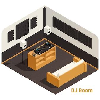 Composición isométrica interior de la sala de música de estudio de dj con tocadiscos, discos de vinilo, gabinete de almacenamiento, altavoces, sofá, ilustración