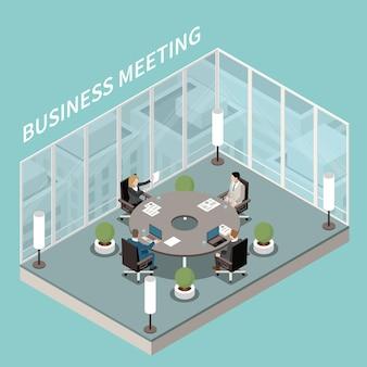 Composición isométrica interior de la sala de reuniones de la oficina de negocios de la empresa con paredes de vidrio de discusión de mesa de sala de juntas redonda