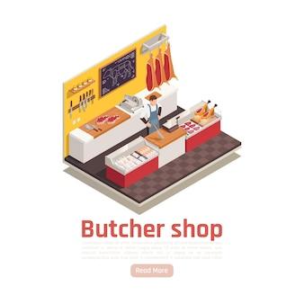 La composición isométrica interior de la tienda de carne con carne corta cuchillos carnicero detrás del mostrador vendiendo filetes de jamón