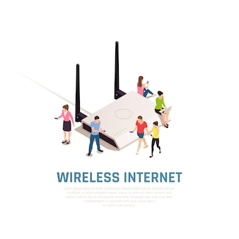 Composición isométrica de internet inalámbrico con gente pequeña alrededor de un enrutador grande que se conecta mediante teléfonos inteligentes